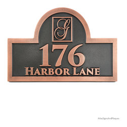 """Monogram Arch Address Plaque 15"""" x 10"""" in Copper Patina - A Monogram Arch Address Plaque. Monogrammed to your specifications. Personalized monogrammed gifts are always appreciated. Great Wedding Gift or House warming gift!"""