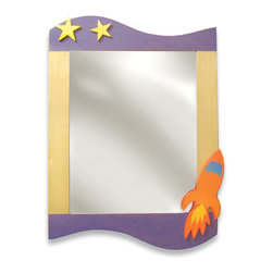 "Room Magic - Star Rocket Wall Mirror - A Rocket ship and Stars light up this beautiful mirror, made of birch veneers finished in brightly colored stains. 24""L, 33""H"