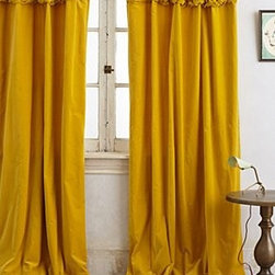 "Anthropologie - Braided Velvet Curtain - Sold individuallyTunnel tab constructionCotton velvet; cotton liningDry clean50""WImported"