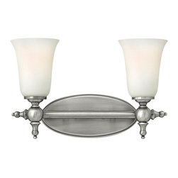 Hinkley Lighting - 5742AN Yorktown Bath Vanity Light, Antique Nickel, Etched Opal Glass - Traditional Bath Vanity Light in Antique Nickel with Etched Opal glass from the Yorktown Collection by Hinkley Lighting.
