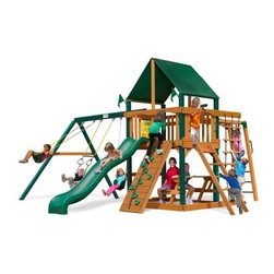 Gorilla Playsets Navigator Supreme Wood Swing Set with Canvas Green Canopy - Ahoy! Hoist anchor and set sail aboard the Gorilla Playsets Navigator Supreme Wood Swing Set with Canvas Green Canopy! The imagination of a child is a miraculous thing. With it, a mounted steering wheel turns a simple rail into the helm of a ship, and a toy telescope transforms a five-foot platform into a crow's nest thirty-five feet above the sea. This creatively designed play set is a perfect canvass on which your little adventurers can paint their dreams. The ability to explore and plan fantastical adventures bolsters a bold confidence in your children, helping them learn what it means to be a leader. The encouragement to actively play outdoors also helps kids develop gross motor skills as well as a natural affinity for fresh air and exercise that will pave the way for a happy and healthy life. The swings, monkey bars, and climbing structures all inspire this kind of kinetic play. As kids climb up, down, and all around this set, parents will feel better knowing the children are safe with the securely anchored easy-grip handles and stable, square footing. The canopy and the built-in picnic table allow kids to stay outside and play almost all day without you having to worry about them getting too much sun, because the canopy is made from all-weather Sunbrella fabric that protects them both from harsh UV rays and even light rain.Additional FeaturesTotal dimensions: 19W x 18D x 11H feetPlatform dimensions: 6W x 4L x 5H feetIncludes tic-tac-toe panel, steering wheel, telescopeAlso includes flag kit, safety handles, hardware4 x 4 solid wood framing4 x 6 swing beamsNaturally resistant to rot, decay, and insect damageAbout Gorilla Playsets Since 1992, Gorilla Playsets has been designing and selling ready-to-assemble playsets. With a reputation for providing excellent customer service, Gorilla Playsets conveniently provides customers with affordable playsets including quality wood components, sturdy playset accessories, all necessary hardware, and clear instructions. Gorilla Playsets always keeps safety in mind while creating inventive, durable products that provide children with myriad possibilities for fun and play.