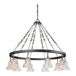 Troy Lighting - Troy Lighting F3137 Menlo Park Single Tier Chandelier - Restoration-Vintage Single Tier Chandelier in Old Silver with Historic Pressed Clear glass from the Menlo Park Collection by Troy Lighting.