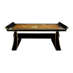 Oriental Unlimted - 16.5 in. High Handcrafted Japanese Shinto Ben - Featuring a hand-painted Japanese design. Hand-finished in a rich, clear lacquer. No assembly required. 40 in. W x 20 in. D x 16.5 in. H
