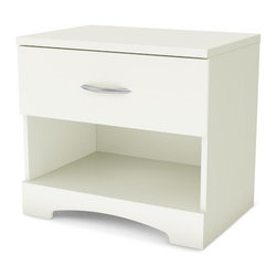 South Shore - Step One 1 Drawer Nightstand - Features: -Decorative kick plate.-Smart glide drawer slides feature stops and built-in dampers.-Shrink wrapped packaging with reinforced corners to reduce the risk of shipping damage.-Manufactured from eco-friendly, EPP-compliant laminated particle board carrying the Forest Stewardship Council (FSC) certification.-Improved packaging New packaging uses 60% less non-biodegradable materials.-Energy efficiency Yearly, 5 to 6 tons of wasted paneling are converted into energy used internally.-Environmentally Preferable Product (EPP) certification Already meeting the very strict 2009 California Formaldehyde Regulations.-Greener communication tools Reduced format on recycled paper and conversion to electronic format.-A Green Future in mind: A member of the Composite Panel Association whose mission is to work towards more ecological and environment-friendly panel solutions.-Engineered wood construction.-Elegant metal handles in a Brushed Nickel finish.-Step One collection.-Protecting our Environment for Generations to Come! South Shore Furniture is proudly taking a stand on its environmental positioning and is supporting its words with very concrete actions and a vision for a healthy future. Current actions include:.-Distressed: No.-Collection: Step One.-Country of Manufacture: Canada.Dimensions: -Overall Product Weight: 35 lbs.Assembly: -Complete assembly required by two adults (tools not provided.Warranty: -South Shore provides five years warranty.