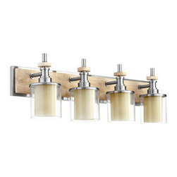 Quorum International - Quorum International 5064-4 Concord 4 light Bathroom Fixture - Quorum International 5064-4 Concord 4 light Bathroom FixtureThe Concord Collection features a unique modern design of clean lines and cylindrical shapes that is softened by the inclusion of travertine accents.Quorum International 5064-4 Features: