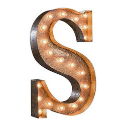 "Used 24"" Vintage Marquee Light - Letter S - Great for weddings, restaurants, bars, events, home decor, or even photo/set props. These Vintage Marquee Lights are what the ""Pickers"" dream of finding! The are carefully crafted from rusty metal to make them look authentic and antique.  Artificial wear and tear is created on each letter and wear will differ from sign to sign. Color will also vary due to naturally occurring rust.     Due to the rust, inside packaging can become dusty during transit. Open with care. Once open, shake dust off. There is a 24"" tall, 4"" deep (arrow 36"" tall) hanging bracket on back for easy wall installation. New UL Approved wiring, plugs, sockets and C9 bulbs included. 5 spare bulbs per sign also included incase of breakage during shipping. Plug into standard outlet. Indoor/outdoor use."