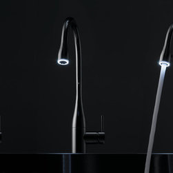 KWC EVE - KWC EVE 1-function pull down-spray. Available with or without LUMINAQUA LED-technology. Finishes: chrome, stainless steel, glacier white, and black chrome-plated.