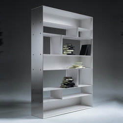 Flexform - Flexform Lightpiece Bookshelves - Bookshelves, available in three sizes, are manufactured with a metal frame, with epoxy powder coat on the inside and covered with stainless steel on the outside.  Epoxy colors available are white, cream, umbra grey, black, khaki green, brown grey, pearl beige, pearl white and pearl mouse grey.  Manufactured by Flexform in Italy.  Price includes shipping to the USA. Designed in 2002.