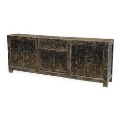 Fantastic Large Black Sideboard Cabinet / TV Console - Large vintage sideboard cabinet or TV console. Hand carved detail on drawers, brass hardware.