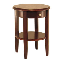 Winsome Wood - Round Top Wood Side Table w Drawer - This Concord round end table fits perfectly in any room in your home. The classic, streamlined lines and appealing circular design are ideal for a living room, bedroom, sitting room or den. Full working storage drawer provides added convenience. The sophisticated antique walnut finish easily blends with other wood furnishings. Lower shelf gives you added display space. * Antique Walnut finish. 17.32 in. Dia. x 22.5 in. H