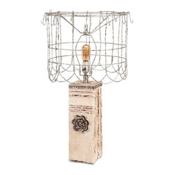 Vintage Chic Antique White Table Lamp with Wire Shade - *From the Ella Elaine designer collection, the Austin table lamp is embellished with a antiqued finish, the look of found objects and features a wire shade perfect for the soft glow of a vintage bulb!