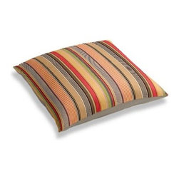 Red & Orange Modern Stripe Custom Floor Pillow - A couch overflowing with friends is a great problem to have.  But don�۪t just sit there: grab a Simple Floor Pillow.  Pile ���em up for maximum snugging or set around the coffee table for a casual dinner party. We love it in this purple, lime and taupe multi stripe that feels modern with a need for speed.
