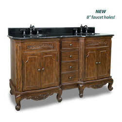 "Hardware Resources - Elements Bathroom Vanity - Clairemont Nutmeg 60"" Double Vanity with Preassembled Top and Bowl by Bath Elements This 60-7/8"" wide MDF double vanity features carved floral onlays and French scrolled legs for a traditional feel. The Nutmeg finish adds depth to this vanity. Two large cabinets with a center bank of fully functional drawers provide ample storage. This vanity has a 2CM black granite top preassembled with two H8809WH (15"" x 12"") bowl, cut for 8"" faucet spread, and corresponding 2CM x 4"" tall backsplash. - Vanity: 60-7/8"" x 22-7/8"" x 35-3/4"" (with top),Style: Traditional,Finish: Nutmeg,Materials: MDF,Top: 2CM black granite with 2CM x 4"" tall backsplash,Bowl: H8809WH (2),Coordinating Mirror: MIR062,Faucet must be purchased separately"