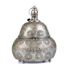 """Concepts Life - Concepts Life Candle Holder  Luminous Lace Lantern  Silver, Medium - Whether you are preparing for a special occasion or simply want to make a strong statement in your home, our Luminous Lace collection will instantly infuse elegance into your space. Our silver lanterns have ornate details on the surface and beautiful perforated patterns that will let the light from within add warmth and sparkle to any occasion. This magnificent pear shaped medium sized lantern comes with an interior glass cup to keep the flame governed. Scent and light eminate form the intricate carvings and are secured by the hand welded retractable top. Complete with a top loop for easy transport onto any surface or for simple hanging nearby. The electroplated finishing process garantees long lasting briliance to this strong, ornately crafted iron piece.  Hand welded from 100% iron Opens via clasp and hinge Includes glass cup for a votive or tealight candle Complete with hanging chain and S hook Beautifully hand-crafted; will have unique bends and asymmetries Dimensions: 7.5""""w x 10""""h x 7.5""""d style=""""font-size: x-small Weight: 1 lbs Available in larger size"""