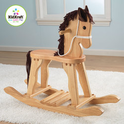 Kidkraft - Toy Hourse Kidkraft Derby Rocking Horse in Natural Color - This Derby Rocking Toy Horse for kids would make a great gift for the young cowboys and cowgirls in your life. It has nice Heirloom quality, Wool mane and tail and Anti-tip rockers which is Made of wood.