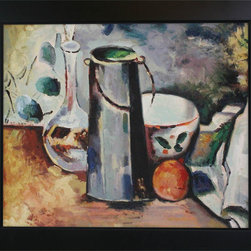 "overstockArt.com - Cezanne - Water Pitcher and Decanteur Oil Painting - 20"" x 24"" Oil Painting On Canvas Hand painted oil reproduction of a famous Cezanne painting, Water Pitcher and Decanteur. Today it has been carefully recreated detail by detail, color by color to near perfection. This beautiful representation of still life will bring color to every room or workspace. Paul Cezanne is identified today as the most dominant influence in the abstraction of modern art. Cezanne drew influence from Pissarro and Manet early in his career. As he matured, Cezanne mostly portrayed still lifes in his art and has greatly influenced Cubism, a form of painting. This work of art has the same emotions and beauty as the original. Why not grace your home with this reproduced masterpiece? It is sure to bring many admirers!"