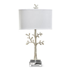 Kathy Kuo Home - Daytona Coastal Beach Silver Tree Table Lamp - A rare, environmentally protected tree from Cape Town, South Africa comes to your home. It immediately beautifies and illuminates your surroundings with a combination of modern design and natural elements. Polished silver details and a white drum shade finish this finely crafted table lamp.
