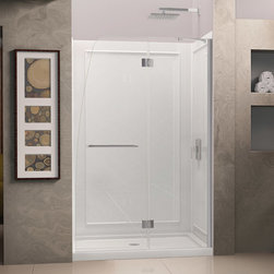 """Dreamline - Aqua 45-1/2 to 45-7/8""""W x 72""""H Hinged Shower Door - The AQUA Shower Door combines a fresh look with a frameless design for an amazing value. The AQUA shines with a striking curved silhouette that is far from ordinary. The innovative wall profile provides out-of-plumb adjustment during installation. Give your bathroom renovation a touch of brilliance with the gracefully curved lines of the AQUA Shower Door."""