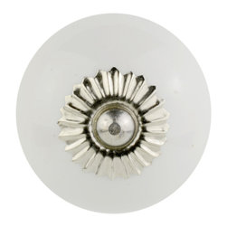 Knob Lovers - Cassia Knob - Meet Cassia, a beautifully simple knob. This white round ceramic knob is set upon a silver mount and topped with a silver cap; it will add the perfect touch of elegance to your home.