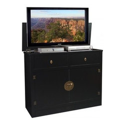 Asian Inspired TV Lift Cabinets - Hideaway Black TV Lift Cabinet