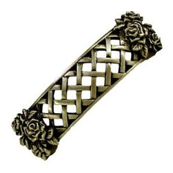 Anne At Home - Rose Trellis Pull (Set of 10) - Hand cast and finished. Made in the USA. Pewter with brass insert. Collection: Summer Garden. 4.25 in. L x 1.125 in. W x 1 in. H