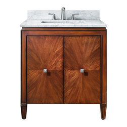 "Avanity - Brentwood Vanity Only, 31"" - Shining star. This gorgeous vanity has an eye-catching starburst design on the doors and great transitional styling that makes it perfectly at home in traditional and contemporary spaces alike. The small footprint will fit perfectly in your guest bath."