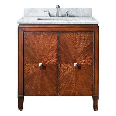 Avanity - Brentwood 31 in. Vanity Only - Shining star. This gorgeous vanity has an eye-catching starburst design on the doors and great transitional styling that makes it perfectly at home in traditional and contemporary spaces alike. The small footprint will fit perfectly in your guest bath.