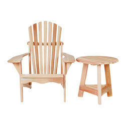 All Things Cedar - All Things Cedar TP22U-Set 2pc.Tripod Adirondack Set - This set pairs our most popular Adirondack chair AA21U with our newest side table TP22U    Dimensions:   (39 x 32 x 38) (21 x 21 x 21 ) in. (w x d x h)