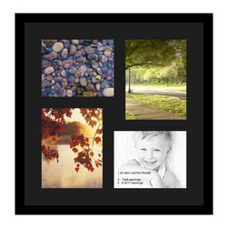 ArtToFrames - ArtToFrames Collage Photo Frame  with 2 - 8.5x11, 8x10 Openings and Satin Black - Your one-of-a-kind photos deserve one-of-a-kind frames, but visiting a custom frame shop can be time consuming and expensive. ArtToFrames extensive and growing line of inexpensive multi opening Photo Mats will get you the look you want at a price you can afford. Our Photo Mats come in a variety of sizes and colors and can be custom made to your needs. Frame choices range from traditional to contemporary, with both single and multiple photo opening mat options. With our large selection of custom frame and mat choices, the design possibilities are limitless. When you're done, you'll have a unique custom framed photo that will look like you spent a fortune at a frame shop. Your frame will be delivered directly to your front door or sent as a gift straight to your recipient.