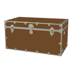 Rhino - Toy Trunk - Brown (Large) - Choose Size: LargeWheels are not included. Includes two nickel plated steel universal wheel adapter plates. Wheel adapter plates mounted on side of the trunk. American craftsmanship. Several obscure ventilation holes to provide plenty of air should your child ever go into the trunk and have someone close it on them. Strong hand-crafted construction using both old world trunk making skills and advanced aviation rivet technology. Steel aircraft rivets are used to ensure durability. Heavy duty proprietary nickel plated steel latches and hardware. Heavy duty nickel plated steel lid hinges plus lid stays for keeping lid propped open. Tight fitting steel tongue and groove lid to base closure to keep out moisture, dirt, insects, odors etc.. Stylish lockable nickel plated steel trunk lock has loop for attaching padlock. Discrete ventilation holes. Special soft-close lid stay. Nylon cordura exterior laminate. Lifetime warranty. Made from 0.38 in. premium grade baltic birch hardwood plywood with nickel-plated steel hardware. Large: 32 in. W x 18 in. D x 14 in. H (29 lbs.). Extra large: 36 in. W x 18 in. D x 18 in. H (36 lbs.). Jumbo: 40 in. W x 22 in. D x 20 in. H (67 lbs.). Super jumbo: 44 in. W x 24 in. D x 22 in. H (69 lbs.)Safety First! A superior quality, heavy-duty toy trunk that¢s designed for a child¢s well-being, yet looks handsome in any room. Toy Trunk is constructed from the highest quality components. This treasure chest incorporates several safety features to insure that it¢s child friendly. Those include small ventilation holes should a child ever decide to climb in and take a nap, as well as specially designed, American made soft-close lid stays. The lid stays keep the lid from slamming shut. In fact, the lid will only close if you push it down. This will keep small hands protected. Also, the toy trunk will not lock on its own. Toy Trunk are conveniently sized and ruggedly built. They¢re strong enough to stand on! Best of all, these advanced design wheels do not add any extra height to the trunk. Even with the wheels on, the trunk is stackable.