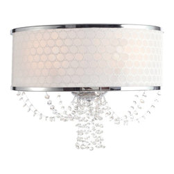 Crystorama - Crystorama Allure Wall Sconce in Chrome - Shown in picture: Polished Chrome Sconce; Polished Chrome Sconce with a White Silk Pattern Shade draped with Clear Hand Cut Crystal