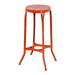 """Industrial Stools - nicely aged orange painted vintage industrial """"uhl art steel"""" stationary four-legged machine shop workbench stool with flared legs and pierced metal seat - toledo metal furniture co., toledo, oh."""