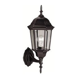BUILDER - KICHLER 9654BK Madison Transitional Outdoor Wall Sconce - With its timeless colonial profile, the Madison is the perfect line of outdoor fixtures for those looking to embellish classic sophistication. Because it is made from cast aluminum and comes in an extensive amount of different finishes, this Madison 1-light wall lantern can go with any home decor while being able to withstand the elements. It features a Black finish with clear beveled glass panels. U.L. listed for wet location.