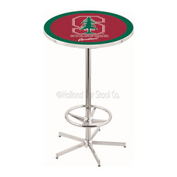 Holland Bar Stool - Holland Bar Stool L216 - 42 Inch Chrome Stanford Pub Table - L216 - 42 Inch Chrome Stanford Pub Table  belongs to College Collection by Holland Bar Stool Made for the ultimate sports fan, impress your buddies with this knockout from Holland Bar Stool. This L216 Stanford table with retro inspried base provides a quality piece to for your Man Cave. You can't find a higher quality logo table on the market. The plating grade steel used to build the frame ensures it will withstand the abuse of the rowdiest of friends for years to come. The structure is triple chrome plated to ensure a rich, sleek, long lasting finish. If you're finishing your bar or game room, do it right with a table from Holland Bar Stool.  Pub Table (1)