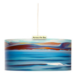 """Rowan Chase - Across the Bay, 12"""" X 9"""", No Diffuser - The waves and colors from the sea can now flow right into your bedroom with the Across the Bay drum pendants by Californian artist Rowan Chase. These unique lamps are constructed on white powder coated lampshade rings with Rowan Chase artwork. 100% Cotton Velvet Watercolor paper, a white 10 foot cord with porcelain fixture and white ceiling canopy. Lamps come assembled and ready for installation. They are handmade in California one shade at a time by Rowan Chase himself in his studio. Available in four sizes from 8"""" to an amazing 24"""" centerpiece which completely changes your dining, bed or living room! All shades are 9"""" tall."""