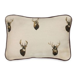 Kimlor Mills - Browning Whitetails Oblong Toss Pillow - Create a rustic cabin look in your bedroom with the Browning Whitetails Oblong Toss Pillow. With a small deer print and chocolate brown trim, the toss pillow is the perfect accent to the Browning Whitetails Comforter Set.