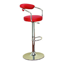Woodland Imports - Contemporary Bar Chair Red Seating Adjustable Base Kitchen Lounge Decor - Contemporary bar chair with sleek modern design and red cushion seating on an adjustable base kitchen lounge decor