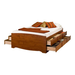 Prepac Furniture - Prepac Tall Double / Full Platform Storage Bed in Cherry with 12 Drawers - This stylish Tall Double / Full Platform Storage Bed in Cherry with 12 Drawers by Prepac Furniture has six spacious drawers (three per side for each occupant) which are ideal for storing bed linens and clothes. Product is made from a mixture of composite woods with a laminated finish. Drawers have plywood sides and metal drawer runners mattress support slats are plywood. This functional, attractive storage bed will bring to your room style and comfort.      This Tall Double / Full Platform Storage Bed comes in four cartons.