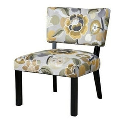 """PWL383-631 - Yellow & Gray Floral Accent Chair - Yellow & Gray floral Accent Chair.  Trendy and sophisticated, the floral accent chair is hip, elegant and fun. The dark black wood frame is complemented by the popular yellow and gray color combination of the floral upholstery. The plush seat and chair back provide for lasting utilization and comfort. A great, eyecatching piece for any room in your home. Some assembly required.  Material Content: Fabric - 61% Rayon, 39% Polyester.  Measures:  24-3/4"""" x 27-1/8"""" x 33-1/8"""" tall."""