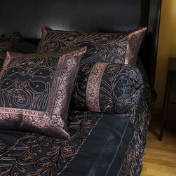 "Luxurious & Decorative Bedding Sets - Exclusive ""Ornamental Embroidered"" Indian design. 7-piece bedding set. Black Rose color."