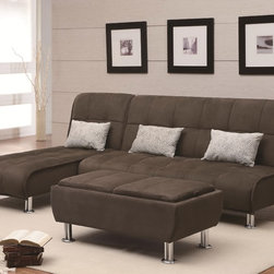 Brown Microfiber Sectional Sofa Sleeper - Transitional sectional sleeper is complete with relaxed seam details and silver-colored cylinder feet. Padded seat back folds down to create a small sofa sleeper to accompany guests. Sectional Sofa consists of Sofa Bed and Chaise Sleeper.