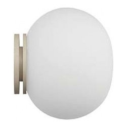 Flos - Mini Glo-Ball wall or ceiling light - The Mini Glo-Ball wall or ceiling lamp is designed by Jasper Morrison in 2002. This elegant and practical wall or ceiling lamp is providing diffused light. The diffuser consists of an externally acid-etched, handblown, flashed opaline glass and a white, injection-molded PPS threaded ring nut. The wall fitting consists of white injection-molded PPS.
