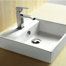 Caracalla - Square White Ceramic Self Rimming Bathroom Sink - Contemporary design, square white ceramic self rimming bathroom Sink. Stylish self rimming washbasin comes with overflow and one pre-drilled hole. Made in Italy by Caracalla. Made out of white ceramic. Contemporary design. Includes overflow. Standard drain size of 1.25 inches.