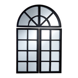 Holly & Martin - Holly & Martin York 3 Piece Mirror Set - Made up of three separate parts, this decorative windowpane mirror can bring light to any room in your home. Each side panel features eight small square mirrors and the top panel completes the design with four arched mirrors. Place the three panels close together or space them out, either way they will give much-needed life to an empty space. The sleek pine frame is painted black with slight rub-through for character that adds to the appeal, helping radiate the living space. Try this mirror set in your living room or home office for a brand new look that you are sure to love.