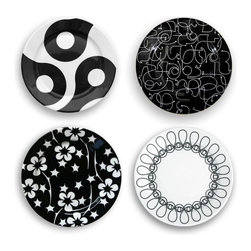 Inova Team - Modern Dinneware Small Plate - Set Of 4 - The ultimate mix and match pattern! Four small plates one of each pattern: Links, Letters, Flora and Ribbon. Modern, bold and fun, you can use these pieces with your existing white dinnerware...or buy this set in multiples for your next buffet dinner party.