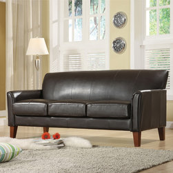 Tribecca Home - TRIBECCA HOME Uptown Dark Brown Faux Leather Modern Sofa - Give your home a modern update by adding this sleek and stylish vinyl sofa from the Uptown Collection to your living room. This sophisticated, espresso-colored sofa features clean contemporary lines and has smooth-to-the-touch upholstery for comfort.