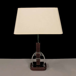 Leather Base and Fabric Shade Contemporary Table Lamp - Exclusive design, stunning appearance and unconventional quality make this stylish table lamp. It has an extraordinary base made from leather and metal, and topped with a fabulous burlap lampshade. A wonderful lighting fixture that suitable for nightstands, desks or side tables to enhance your contemporary decor.