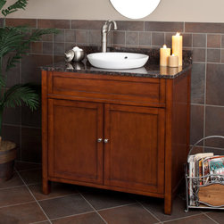 "36"" Darin Vanity for Semi-Recessed Sink - Complete your medium or large size bathroom with the 36"" Darin Vanity that features a warm, rich stain and generous space for organizing bathroom accessories."