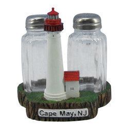 "Handcrafted Model Ships - Cape May Lighthouse Salt and Pepper Shakers 4"" - This Cape May Lighthouse Salt and Pepper Shakers 4"" is one of the cutest salt and pepper sets available anywhere! This Cape May Lighthouse Salt and Pepper Shakers 4"" is a definite must for the lighthouse or nautical enthusiast. This lighthouse decoration will surely brighten up your kitchen table, shelves or countertop. Cooks and collectors will delight in owning this fun loving set. See our vast selection of other famous lighthouses from all over the world."