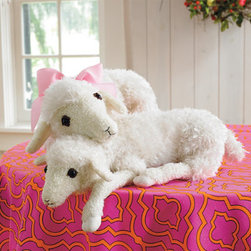 Grandin Road - Plush Lamb - Large - Realistic and ultra-lovable lamb makes a great gift for kids of all ages. Made from soft, modacrylic, faux-wool fibers. Realistic proportions make this baby sheep the perfect cuddle companion. Carefully weighted with plastic pellets and plush polyfill to assume a lamb's natural posture. Plastic vinyl eye details. Delightfully sized and sumptuously soft, our baby Plush Lambs are weighted and sewn for an incredible lifelike feel. Each one is so cuddly, you'll be hard pressed to put it down.. . . .  . Imported.